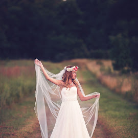 Untitled by Shelby Waltz - Wedding Bride ( field, gorgeous, bridal portrait, veil, bride )
