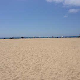 Shoreline at Santa Monica Beach  by Matthew Stumphy - Backgrounds Nature ( sand, far )