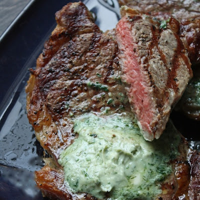 Grilled Ribeye Steak with Gorgonzola Butter
