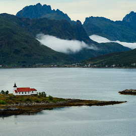 The church in the fjord by Catalin Tibuleac Fotografie - Landscapes Travel ( water, mountains, sky, wooden, church, sunset, lofoten islands, fjords, landscape, mist, norway )