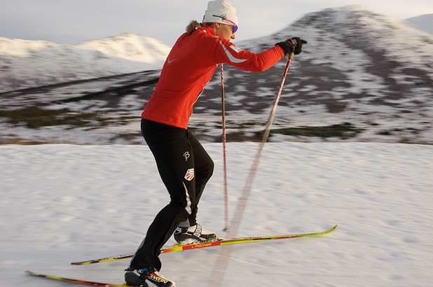 Kikkan with Skis
