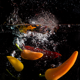Chilli Splash 3 by Don Alexander Lumsden - Food & Drink Fruits & Vegetables