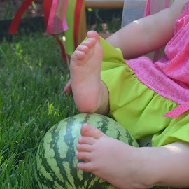 Watermelon Feet by Briana Johnson - Babies & Children Hands & Feet ( feel, touch, feet, baby, watermelon )