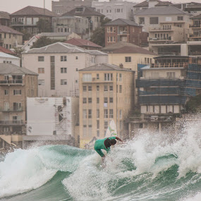 Surfer Bondi by Antonin de Bertimbrie - Sports & Fitness Surfing ( surfer, ocean, trick, bondi, sydney, city )