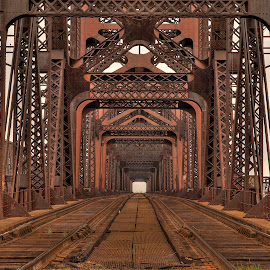 Tracks by Ajit Pillai - Buildings & Architecture Bridges & Suspended Structures ( railroad, bridge, tracks, iron, river,  )
