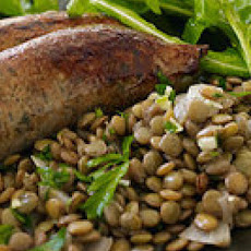 New Year's Day Sausages with Garlic Lentils