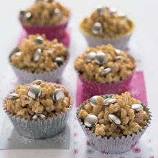 White Chocolate Rice Krispie Cakes with Silver Smarties