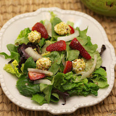 Strawberry Salad with Pistachio Crusted Goat Cheese