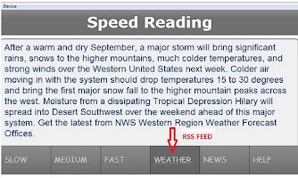 Screenshot of Speed Reading Application