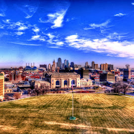Kansas City by Derrill Grabenstein - City,  Street & Park  Skylines ( skyline, park, kansas city, american flag )