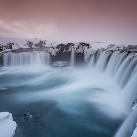 Waterfall Goðafoss  by Gunnlaugur Örn Valsson - Landscapes Travel ( waterfall iceland north rocks long exposure 2014,  )