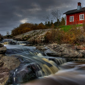 Red House on the rapids by Bojan Bilas - Landscapes Waterscapes ( waterscape, finland, rapids, house, landscape,  )