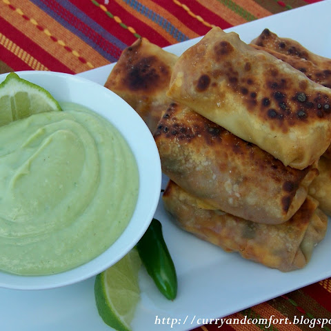 Fiesta Egg rolls with Avocado Dip