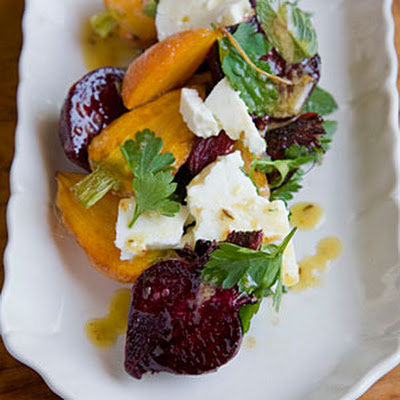 Roasted Carrot and Beet Salad with Feta, Pulled Parsley, and Cumin Vinaigrette