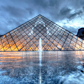 Louvre 10 by Ben Hodges - Buildings & Architecture Public & Historical ( paris ·     louvre ·     statue ·     old ·     hdr ·     pyramid ·     fountain ·     france ·     historical ·     public ·     rain · )