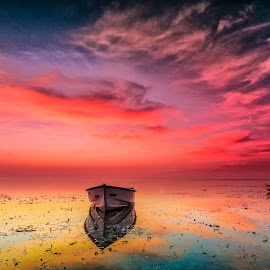 Mystical morning  by Ade Irgha - Transportation Boats ( clouds, reflection, boats, beach, seascape )