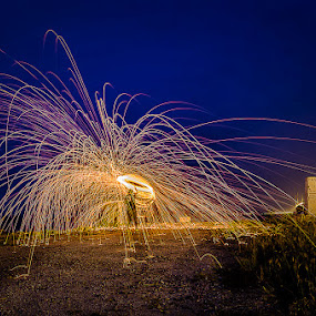 Sparks At Dawn II by Adrian Choo - Abstract Light Painting ( dawn, light painting, steel wool, penang 2nd bridge, sparks, light )