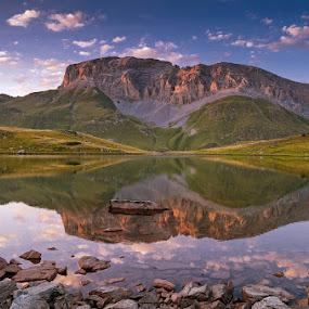 Zagedan-rock by Alexander Bakhur - Landscapes Mountains & Hills ( mountains, sky, mountain, sunset, rock, lake, landscape,  )