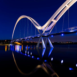 Infinity Bridge by Richard Armstrong - Buildings & Architecture Bridges & Suspended Structures ( night photography, stockton-on-tees, blue hour, long exposure, infinity bridge )