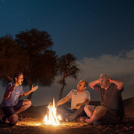 Story Teller by Rajesh Loganathan - People Group/Corporate ( story, camp, desert, storyteller, storytelling and campfire go together, night, people, fire,  )