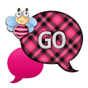 GO SMS - Pink Plaid Bee icon