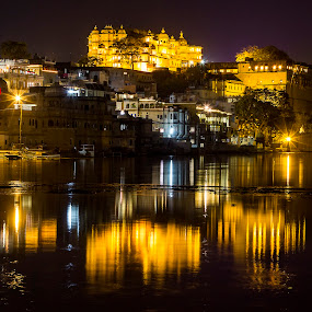 Night view of Udaipur City by Amit Aggarwal - City,  Street & Park  Night ( canon, pichola lake, reflection, night view, udaipur, golden city, long exposure, yellow )