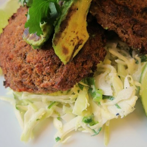 Spicy, Smoky Bean Cakes with Lime Slaw and Charred Avocado