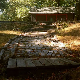 Pine Banks Park, Melrose MA by Mary D'Alba - City,  Street & Park  City Parks ( brick road, park, path, forest, house )