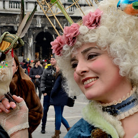 Happy Carnival by Bruno Brunetti - People Musicians & Entertainers ( bird, carnival, venice, lady, portrait )