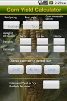Screenshot of Corn Yield Calculator