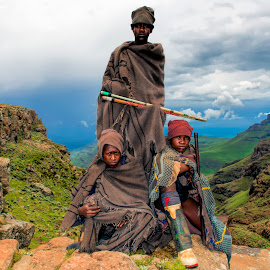 Shepherds in Lesotho by Ferdinand Veer - People Group/Corporate ( lesotho, landscape, mountains., people, ferdinand veer,  )