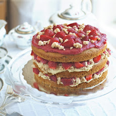 Strawberry Layer Cake with Pastry Cream Filling and
