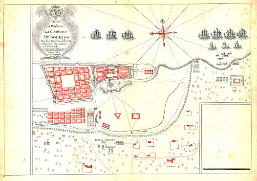Raousset de Bourbon, after Louis Paradis de la Roche <b>Chennai, Tamil Nadu</b> 1746 Manuscript, pen and ink with red wash on paper, 46.1 x 61 cm.  A beautifully executed original contemporary manuscript map depicting the Fall of Madras (1746), a great French victory over the British East India Company.  This exquisite, yet unfinished, manuscript map was prepared by a French officer to illustrate the Fall of Madras, which represented the worst defeat the British would endure India during the 18th Century.