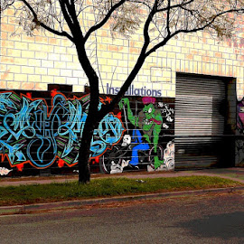 Modern Advertising by Leigh Martin - City,  Street & Park  Street Scenes ( graffiti wall art street art )
