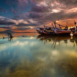 by Choky Ochtavian Watulingas - Transportation Boats ( clouds, cloud formations, mountain, boats, reflections, seascape )