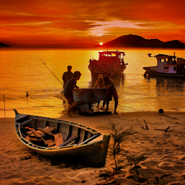 Fisherman & boats by Dany Fachry - Transportation Boats