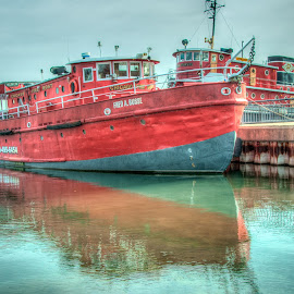 Chicago Fire Boat by Steve Banker Sr - Transportation Boats ( sturgeon bay, red boat, maritime museum, fire boat, fred a. busse, boat )
