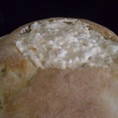 Hot Crab Dip in a Round Loaf