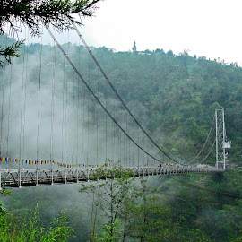 Hanging Miracle.. by Saikat Kundu - Buildings & Architecture Bridges & Suspended Structures ( hanging, hills, connecting, suspended bridge, bridge, natural, engineering,  )