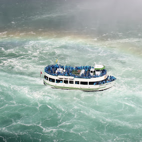 Rainbow follows. by Thakkar Mj - Transportation Boats ( water, cruiseship, niagara falls, canada maid of the mist, device, travel, transportation,  )