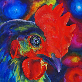 Rooster by Veronica Blazewicz - Painting All Painting ( bird, farm, colorful, art, original, rooster, painting )