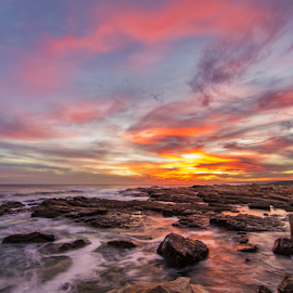 Rocky Coast by Clive Wright - Landscapes Sunsets & Sunrises ( water, sunset, ocean, seascape, landscape )