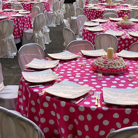 Pretty in Pink by Jennifer Wheatley-Wolf - Artistic Objects Furniture ( tables, jennifer wheatley-wolf, boboli gardens, chairs, white, pink, dots, Chair, Chairs, Sitting )