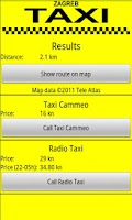Screenshot of Zagreb Taxi Calculator