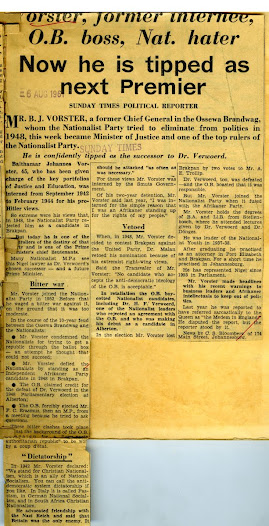 Sunday Times newsclipping from August 1961 detailing BJ Vorster's rise to power