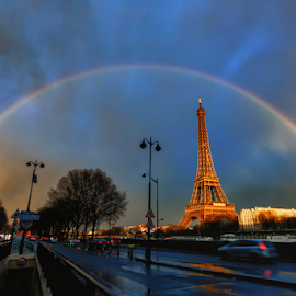 rainbow over the eiffel tower by Bruce Thionville - Buildings & Architecture Statues & Monuments ( eiffel tower, paris, rainbow over the eiffel tower, rainbow )