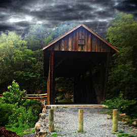 Old Indian Creek Covered Bridge ! by Linda Blevins - Buildings & Architecture Bridges & Suspended Structures ( creek, trees, rock, bridge, covered,  )