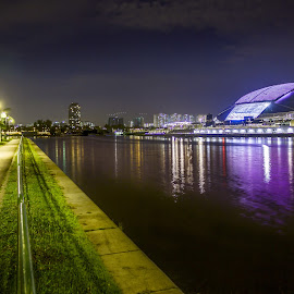 Singapore Sport Hub by Charles Ong - City,  Street & Park  Night