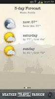 Screenshot of Weather Travel Fashion (WTF)