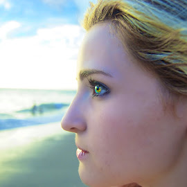 Waiting for that perfect Sunset by Jordan M Newington - Novices Only Portraits & People ( beautiful eyes, beach, photo, portrait, eyes,  )